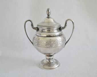 Eberle Silverplate Ornate Sugar Bowl With Lid Vintage Silverplate Tableware