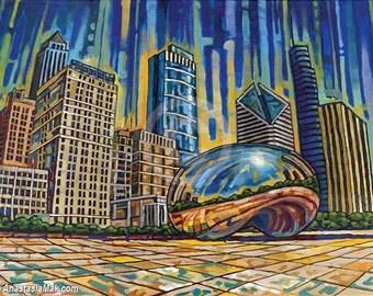 Cloud Gate, Chicago Bean, Downtown Chicago, Grant Park, Chicago landmark, 8x10 Art Print by Anastasia Mak