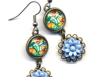 Blue Yellow Earrings, Flower Earrings,  Blue Earrings, Mint Green Earrings, Nature Earrings, Surgical Steel Earrings, Ooak