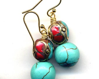 Nepal Earrings, Turquoise Coral Earrings, Nepal Beads on 18 K Gold Filled Wire, Handmade  Nepal Jewelry by AnnaArt72