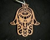 Hamsa Ornament - laser cut wood birch protection evil eye charm magic apotropaic magick middle east prosperity happiness peace