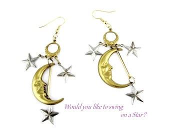 Moon and Stars Earrings Celestial