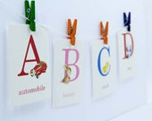 Baby Alphabet Vintage Style Flashcards | Set of 26 | Choose your size | B is for Baby, ABC, School, Alphabet, Flash Cards