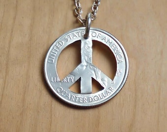 Peace Necklace, Hippie Jewelry, Peace Sign Necklace, Peace Sign Pendant, Charm Necklace, Coin Art, Cut Coin