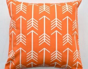 Orange Arrow Throw Pillow Cover - Boho Apache Orange White Arrow Archery -  Tribal Tribe Premier Prints - Available in 16x16, 18x18, 20x20