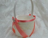Bridal Flower Girl Basket, Flower Girl Basket, Ivory & Coral Flower Girl Basket, Wedding Flower Girl Basket