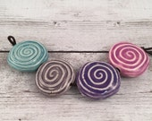 Handmade Ceramic Beads - Coin Beads - Spiral Beads - Jewelry Supplies - Craft Supplies - Ready to Ship - Made by Marsha Neal Studio