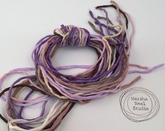 Silk Ribbon Cord Bundle Item No.362 Contains Ten 2mm Silk Ribbons Random Colors