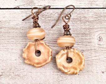 Handmade Golden Yellow Dangle Earrings Ceramic and Glass Handmade Beads Gift Ideas for Her