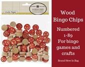 89 Wooden Bingo Chips /Bingo Game/ Party Game / Wood Chips / School Game/