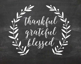 Thankful Grateful Blessed wall decal DB391