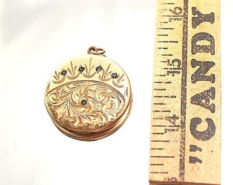 Antique Atrice Paris Photo Locket 1874 Art Nouveau Gold Filled Engraved Flowers Rhinestones