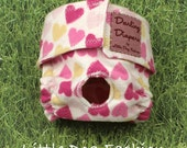 XS Dog Diapers Pink Valentine Hearts on White