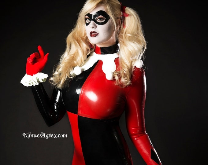 Featured listing image: Harley Quinn Complete Cosplay Costume, includes LATEX Catsuit, wrist cuffs, neck piece, and mask.  Made to Measure.