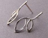 Spring studs - handmade sterling silver earrings
