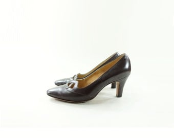 1960s Brown Pump, Vintage Leather Heel, Cut Out 60s Pump, Brown Leather Shoes, 7 1/2