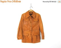 Women's Leather Trench Jacket Coat Vintage Blazer Light tan Brown dress coat Hipster Urban Wear Size Small Medium