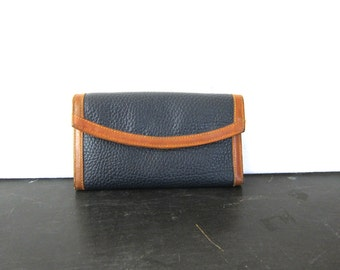 Vintage Navy Blue and brown leather wallet Leather Checkbook Purse Preppy Folding billfold women's Coin purse Dell's