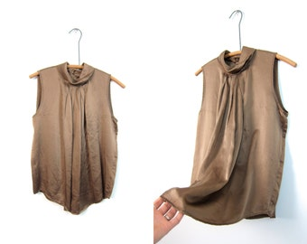 Brown Silk Tank Top Sleeveless Draped Silk Blouse 90s Minimal Milk Mock Neck Loose Fit Blouse DELLS Vintage 90s Blouse Small Medium