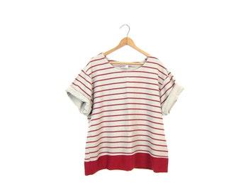Basic 90s Striped Tshirt Vintage Minimal Boxy Tee Beige Red Preppy Nautical Sailor Top 1990s Striped Cotton Basic Tee Shirt Womens XL