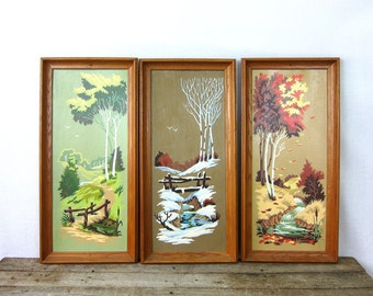 Paint by Numbers art Triptych Winter Snow Fall Spring Trees Landscape set of 3 Paintings Vintage Retro wall hangings Louanne's Estate Sale