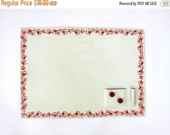 Small Magnet Board Red floral Children's Wall decor Kitchen Vintage Notes Lists wall hanging Louanne's Estate Sale