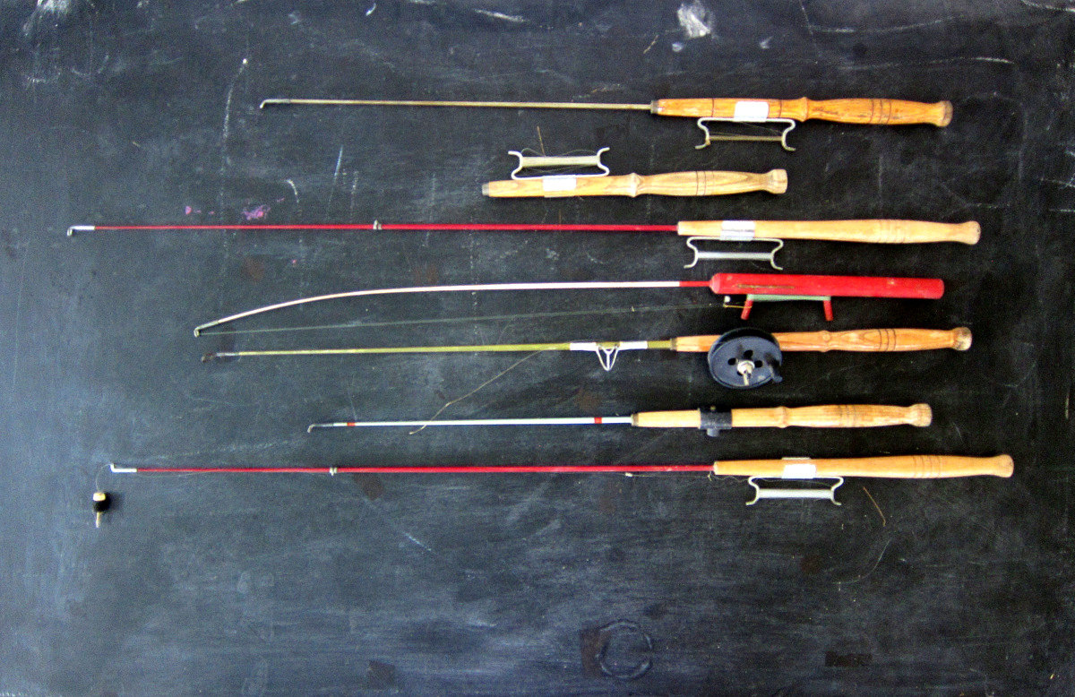 7 vintage wooden ice fishing poles for winter fish nautical for Vintage fishing poles