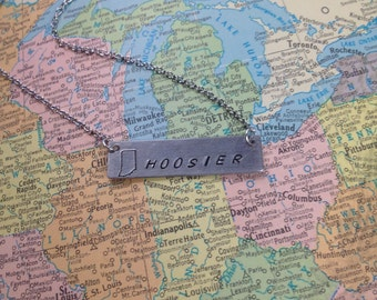 The Hoosier Necklace - Hand Stamped Name Plate Necklace