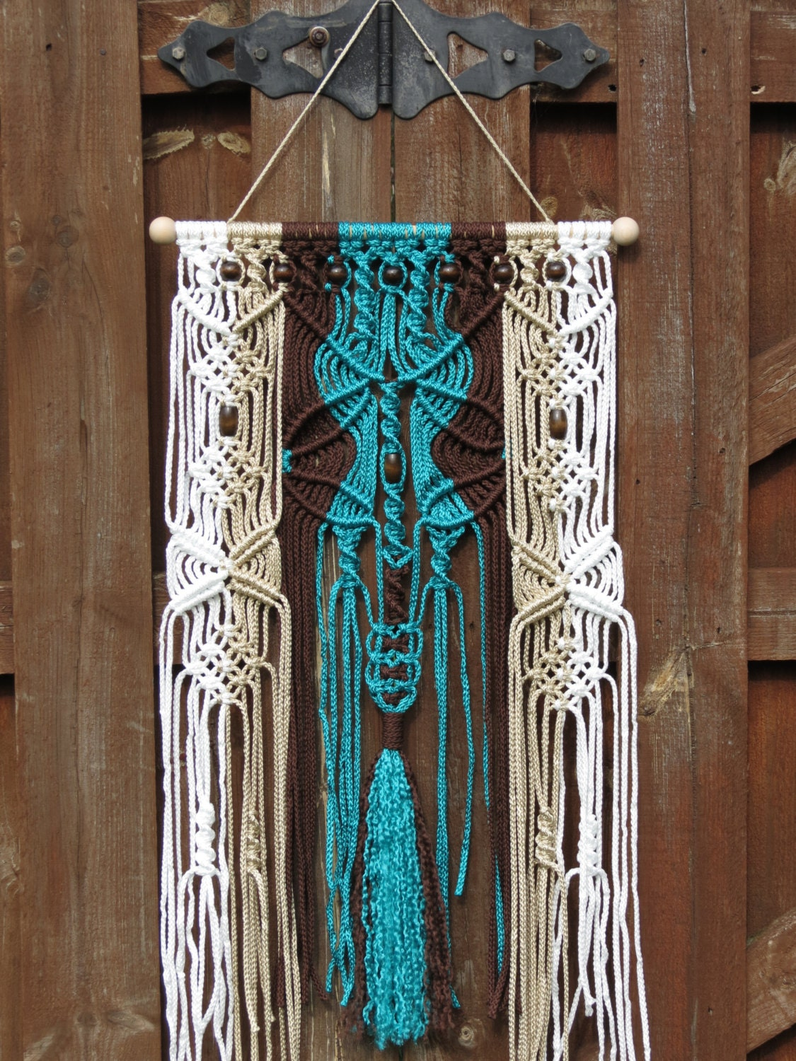 Macrame wall hanging turquoise macrame wall art by for Hanging wall art
