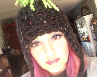 Winter Hat- Crochet Beanie, Green Mowhawk Hat