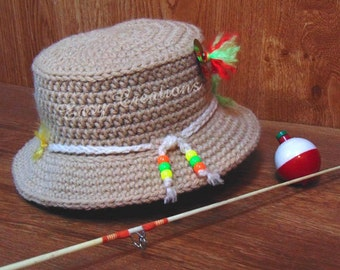 CROCHET PATTERN, Baby Fishing Hat, Bucket Hat, boy, girl, sun, shade, photo prop, hat, brim, Newborn to 6 mo, skill level intermediate