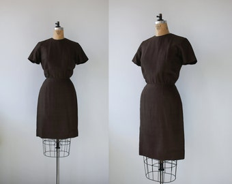 vintage 1960s dress / 60s brown silk dress / 1960s brown sheath dress / size m med medium