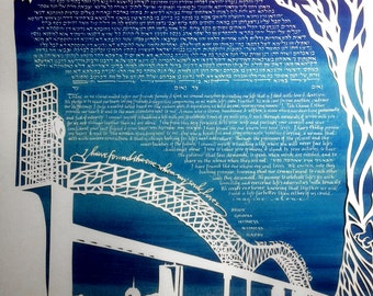 Bridge and Clock Tower Papercut Ketubah