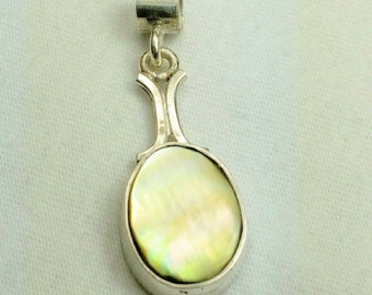 Black mother of pearl, sterling silver pendant,  women's pendant, girls pendant, ready to ship, hand made in the USA