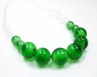 Emerald Isle Bubble Collection - Green And Clear Glass Bubble Necklace - Round Clear Bubbles - Large Statement Necklace