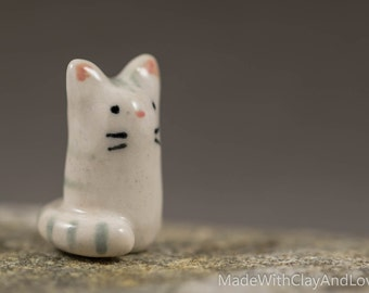 Tall Little Kitty - Miniature Ceramic Animal Terrarium Figurine - Hand Sculpted