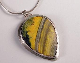 Bumblebee Jasper Pendant - Valentine Gift - Bumble Bee Jewelry - Bumblebee Pendant - Gemstone Necklace - Natural Stone - Yellow Stone