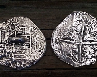 Pirate's Piece of Eight Coin Pewter Shank Buttons 1 3/8 Inch (35 mm)