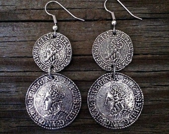 Buccaneer Elizabethan Pewter Coin Earrings