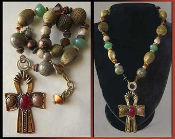 BYZANTINE Cross-Big Showy Designer Costume Cross Necklace,Interesting Beads and Faux Gems,Robert Rose,Vintage Jewelry,Women