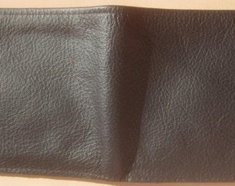 Black Leather Single Fold Wallet with Large Money Pocket and Many Card Pockets