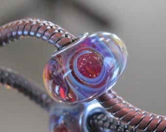 "Tangled Sky Glass ""Phantom"" #1 Fully Sterling Silver Lined Lampwork Charm Bead BHB"