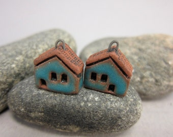 READY TO SHIP...Matte Blue Miniature House Charms in Terracotta...Set of 2
