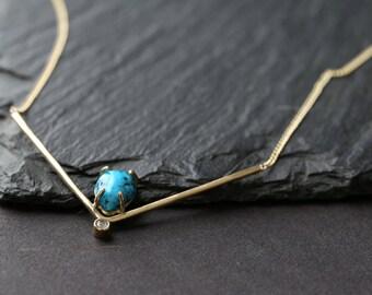 Turquoise + Diamond Peak Necklace