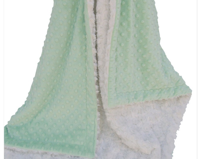 Mint and Ivory Minky Dot Blanket, Mint and Cream Minky Baby Blanket,  Can Be Personalized