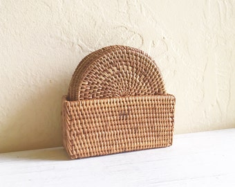 Vintage Woven Natural Wicker Rattan Coasters - Set 6 Six Complete