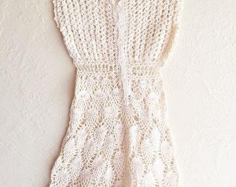 Vintage Doily Dress Top Vest Crochet Ecru Tan Natural Beige - FREE SHIPPING