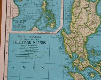 Vintage Map of Philippine Islands, 1940s original Atlas Map of The Philippines, old map for wall decor