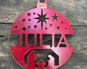 personalized custom wood christmas ornament : nativity scene design