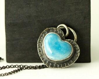 Blue Heart Necklace - Pottery Heart Sterling Pendant - Boho Necklace